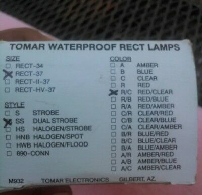 Tomar Waterproof Rect Lamps Rect-37 Red & Clear