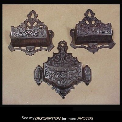 3 Antique Victorian Cast Iron Wall Mount Match Safes Holders Matched Pair Single