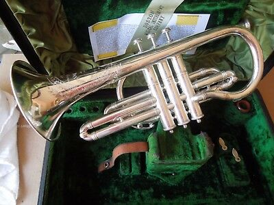 Restored Boston 3 Star NE Plus Ultra Silver Shepherds Crook Cornet w/ Case & MP