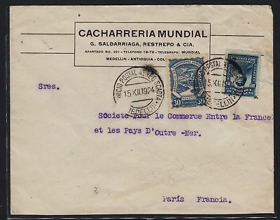 Colombia 1924 Kolumbien - Carta - Cover Scadta - Medellín France