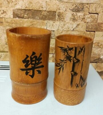 Vintage Chinese Bamboo brush pots x 2