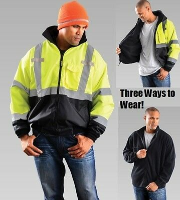 Hi-Vis Bomber Jacket With Black Bottom and Fleece Zip Out Lining - 3 in 1 style
