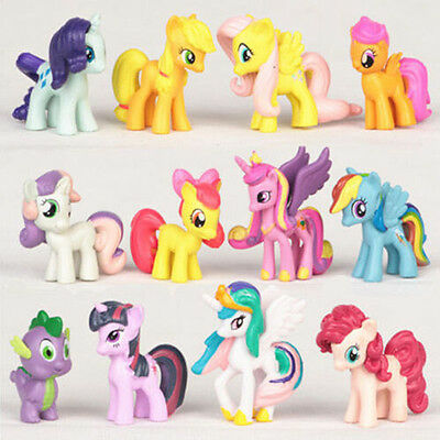 12pcs My Little Pony Action Figures Cake Toppers Doll Set Kids Boy Girl Toy #UK