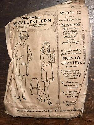 Antique 1920s McCall Printed Sewing Pattern 4810 Girls Slip-on Dress  size 12