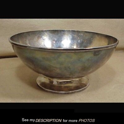 Antique Large Arts & Crafts Hand Hammered Stering Silver Bowl 27.67 Troy Ounces
