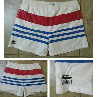 VTG 1980s Mens Izod Lacoste Color block SWIM TRUNKS Tricot-Lined Drawstring XL