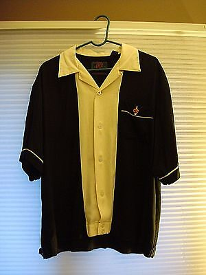 NXT Black And White Short Sleeved Size (L) Large Bowling / Casual Shirt