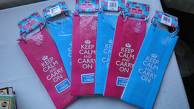 18 new 'Keep Calm and carry on', wine bottle bag Birthday party present gift