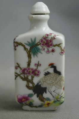 Collection Handwork Decorative Porcelain Drawing Flower Crane Lucky Snuff Bottle