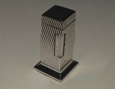 Vintage Dunhill Rollalite Flint Petrol Table Lighter Sparks As-Is For Repair