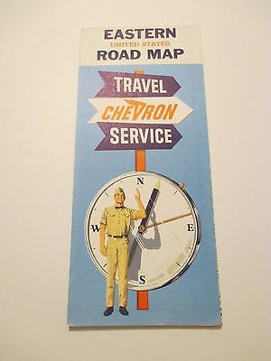Vintage CHEVRON Eastern US Oil Gas Station Road Map