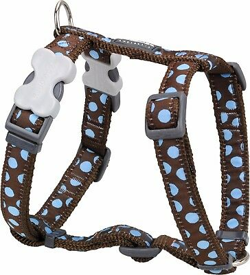 Red Dingo Spot Design Harness BROWN / BLUE for Dog / Puppy | XS - LG | FREE P&P
