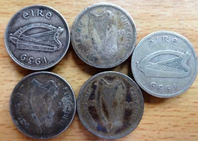 Eire Ireland 1928 – 1935 5 x Irish silver scillings coins