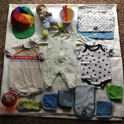 Lot Of 17 Baby Boy One Pieces, Wash Cloths, Burp Cloths, Dishes, Cap, Doll, Ball