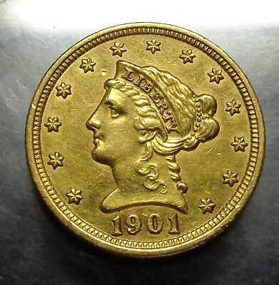 AU+/Uncirculated details from JEWELRY 1901 Coronet 2 1/2 Gold 2.5 dollar coin