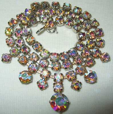 Very Pretty Vintage 1950's /60's Ab Diamante Crystal Glass Rhinestone Necklace