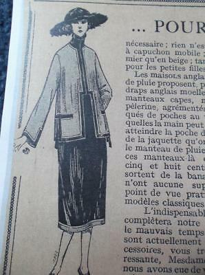 1920s vintage banded Long jacket with inset collar French sewing pattern b 37