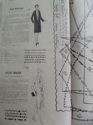 Antique vintage 1920s coat,  jacket & blouses French sewing pattern sheet