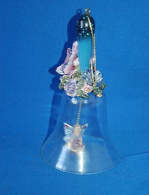 Glass bell with fairy clanger and butterfly decorated handle