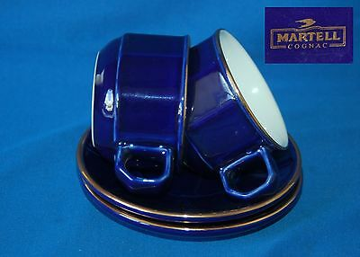 Two blue duos Martell cognac coffee cups and saucers