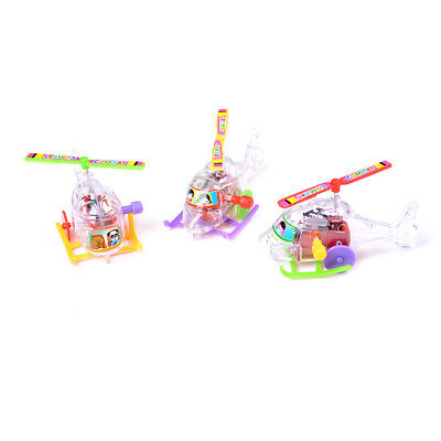 2Pcs Mini Clockwork Transparent Aircraft Somersault Running Wind Up Toy Sy