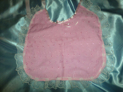 Pink Broderie Anglaise Adult Baby Sissy Bib Lace Trimmed Satin Ties Plastic Back