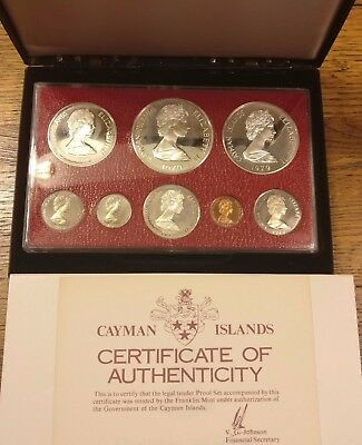 1979 Cayman Islands 8 Coin Silver Proof Set (4 Silver Coins) low mintage