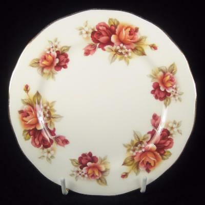 Queen Anne Red & Orange Roses Bone China Side Plate