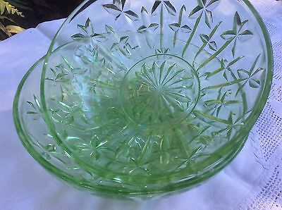 Vintage Green Depression Glass Bowls X 2