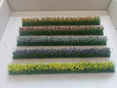 5 Flower strips for OO/HO gauge Model Railway/Dioramas/Scenery/Dollhouses etc.