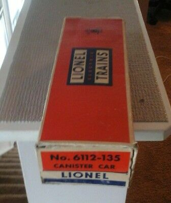 lionel # 6112-135  cannister car box ,shows use sold as pictured,