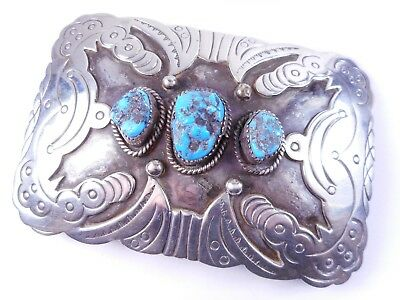 """Large Phillip ATTAKAI Navajo Sterling Silver Turquoise Belt Buckle 70.5g, 3.75"""""""