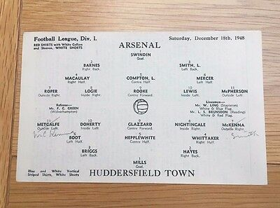 Arsenal V Huddersfield, Div 1,1948, lineup (SINGLE page from programme)
