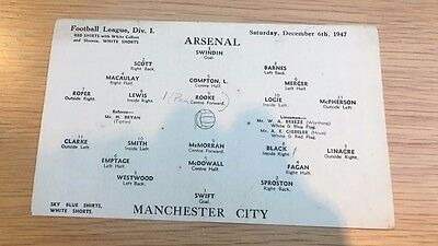 Arsenal V Manchester City, Div 1, 1947, lineup (SINGLE page from programme)