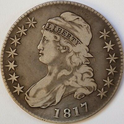 1817 Lettered Edge Capped Bust Half Dollar, Very Fine -- Overton 111