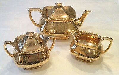 Very Rare Antique W.s. George Lido 183A 22K Gold Floral Teapot Creamer Sugar Usa