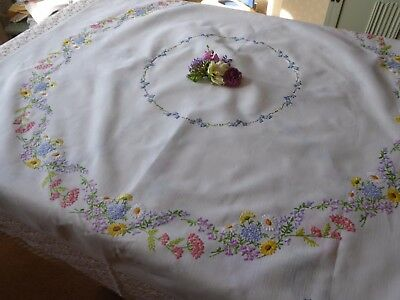 Vintage Hand Embroidered Linen Tablecloth=Exquisite Flower Circle -  Large Size