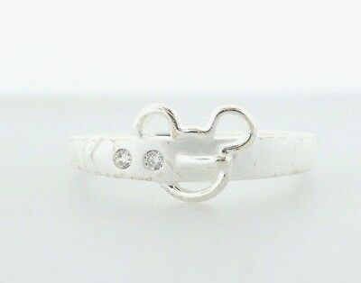 Disney Sterling Silver 925 Mickey Mouse Belt Buckle CZ Ring - Size 7