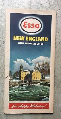 Esso Maine new england gas station map sign 1947 Pic Old Slater Mill 1793