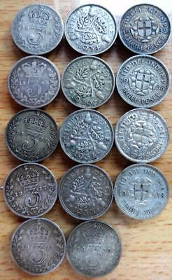 GB 1843 – 1939 14 x 3 pence coins
