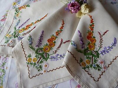 Vintage Hand Embroidered Linen Tablecloth= Beautiful Raised Embroidery