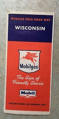 early gas station map sign mobiloil Wisconsin