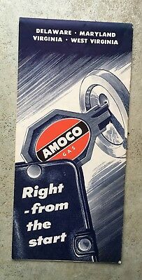early gas station map sign delaware maryland virginia west virginia Amoco 1956