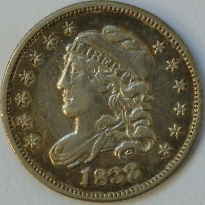 1833 Capped Bust Half Dime 5C, Extra Fine