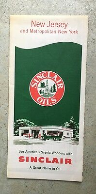 early gas station map sign sinclair oil new jersey new york 1959