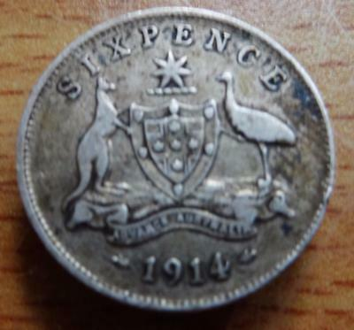 Australia 1914 George V sixpence silver coin