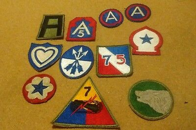 Lot Of 11 Original U.s. Army World War Two Patches