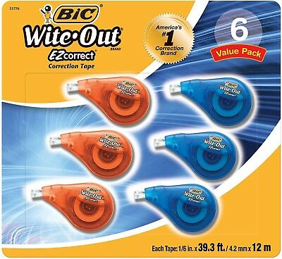 BIC Wite Out EZ Correction Tape 6 Pk Easy to Use Dispenser - Brand New Item