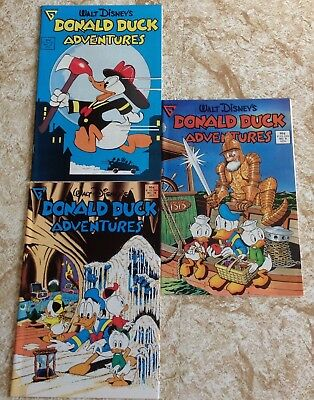 Lot of 3 Gladstone Donald Duck Adventures comics, # 9,10 and 16, vintage 1980s