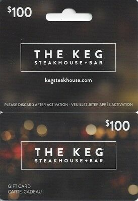 $100 gift card The Keg Steakhouse + Bar, Canada only, un-activated